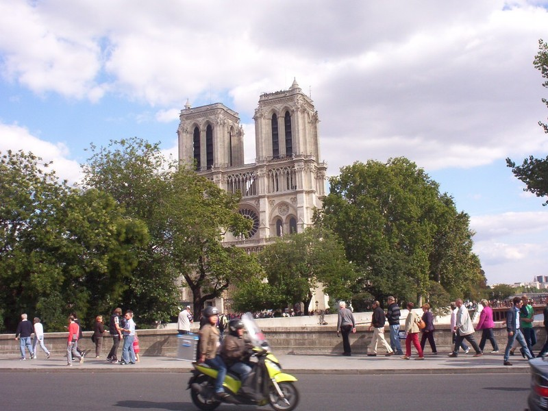 PARIS  FRANCE.  Notre  Dame Cathedral,   sadly  damaged  by  fire  a  year  ago.