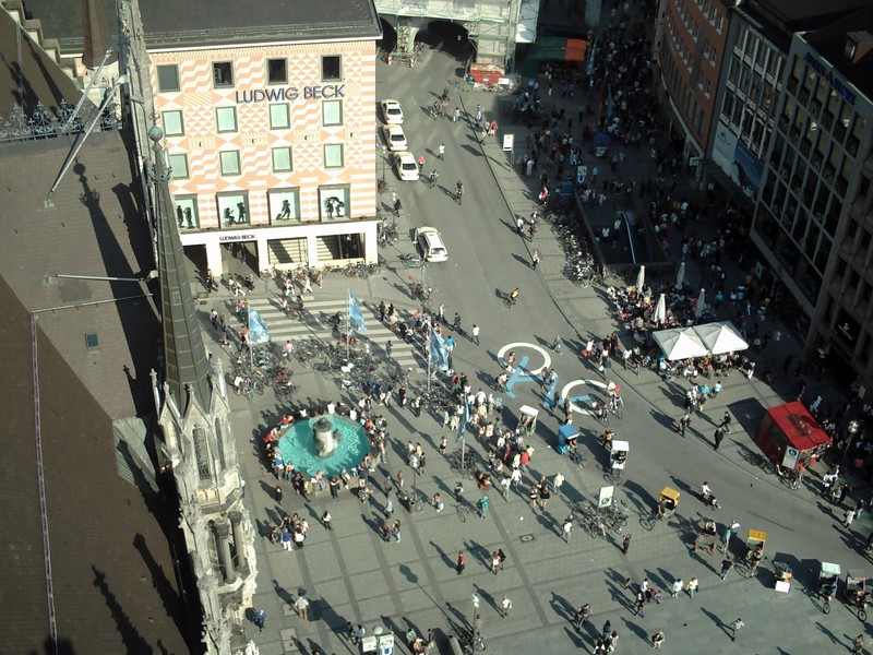 MUNICH,  GERMANY,  --  View  from  top  of  tower,  on  Town Hall. into  Marienplatz..