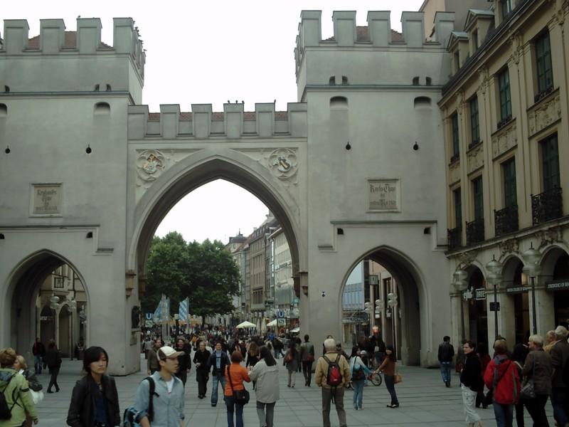 MUNICH  GERMANY.  --  Karistor  Gate. on  Neuhauser Strasse  Karlsplatz.