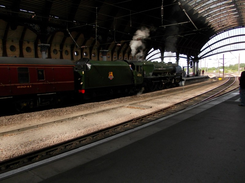 """FAMOUS  STEAM  ENGINE,""""FLYING  SCOTSMAN """" at York  Station  in  2012."""
