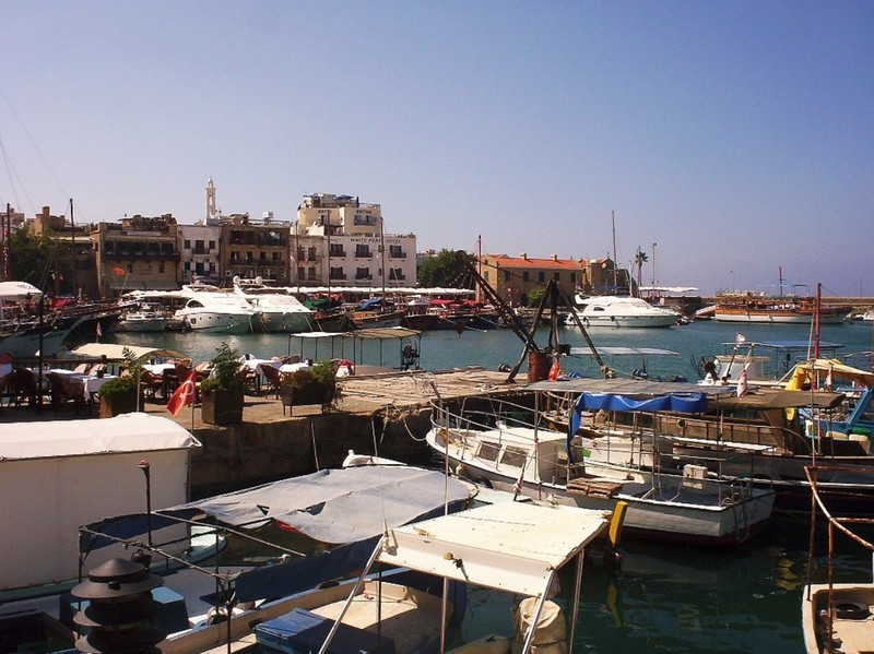 CYPRUS  KYRENIA.    Harbour,   white tower of Church Archangel Michael can be seen.