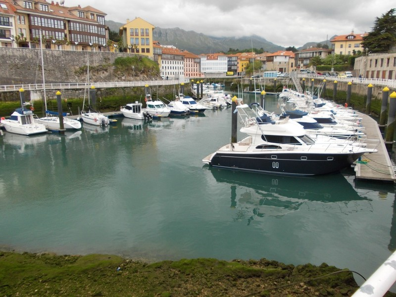 LLANES, SPAIN.   ---   The  bridge in  centre of  picture,  crosses  from  one  side  of  Harbour to  the  other  ,  on  my  walk.