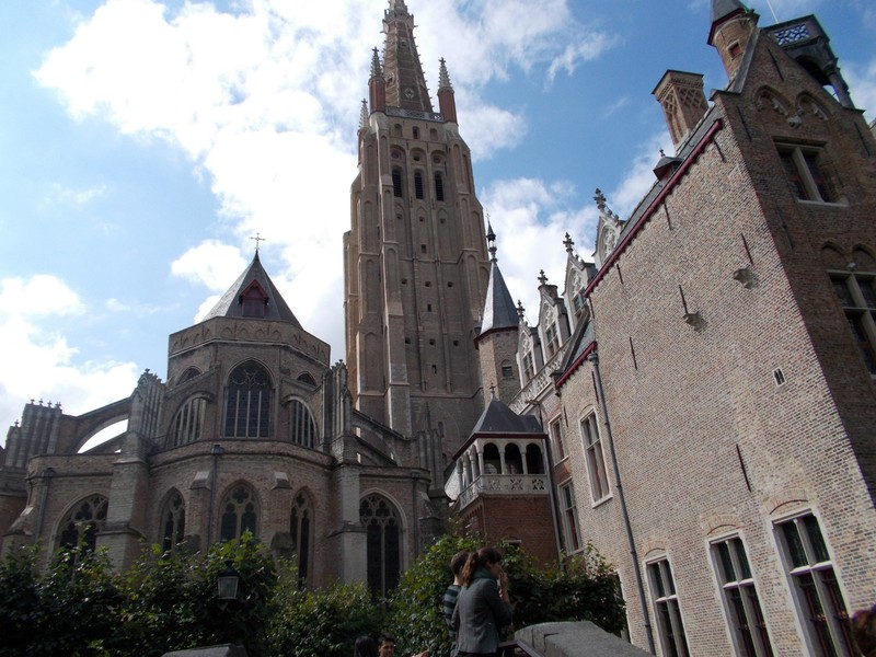 BRUGGE. Church of our Lady, dates from 13th century. Tower 115.6 metres high. [379 ft