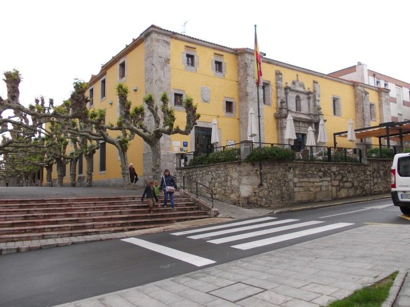 LLANES,  SPAIN.--  Hotel Don  Paco viewed  from  main  street.  Stayed  2  nights ,wish  it  had  been  longer.  Setting  in  an  old  Convent,  with all  the  comforts  of  a  modern  hotel.