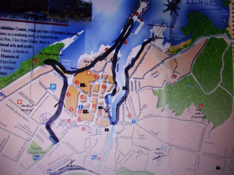 LLANES,  SPAIN.--  Map of walk, starting bottom  left  at  the  hotel.  Top  right end,  walk back  to  town  to  explore  town  centre.