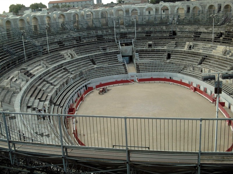 ARLES   FRANCE.  Inside  Roman  Arena.   Is that a  Roman  Tractor ?