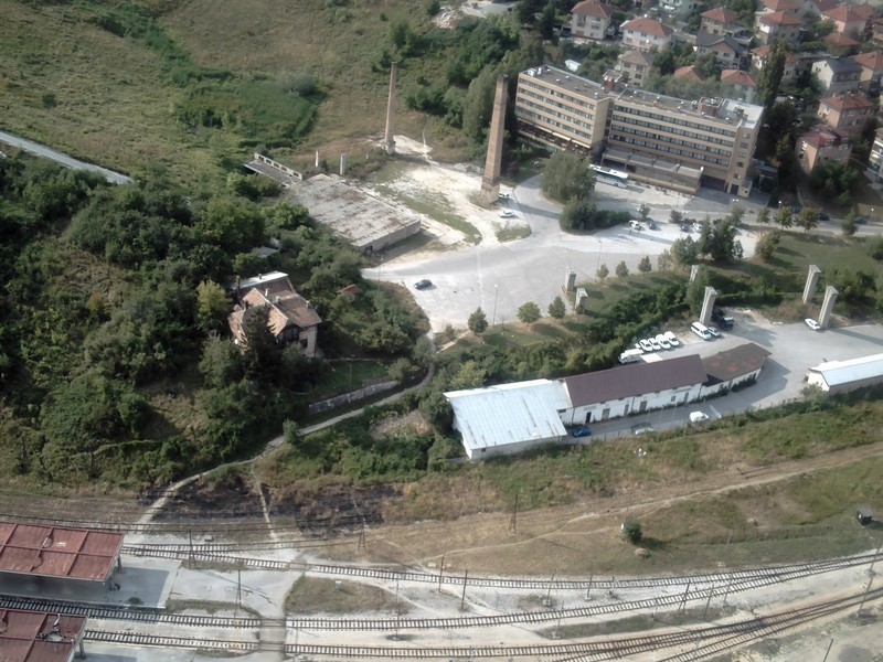 SARAJEVO.  View  from  top of Twist  Tower,  showing  hotel  Grand  with  car  park,  also  the  path  down  to  the  railway  track.