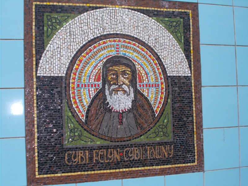 HOLYHEAD  WALES. This Mosaic was on a wall in a passageway to rail station, in town main street. It depicts St. Cybi who died in 554 AD.