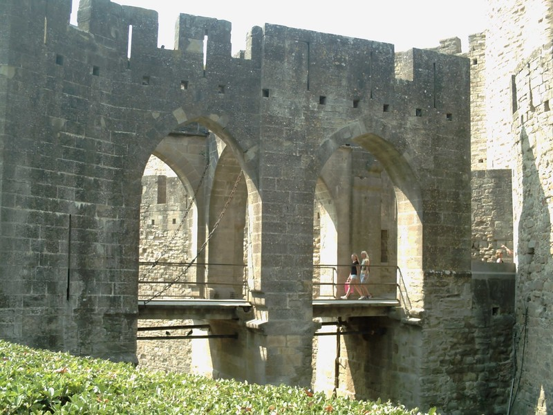 CARCASSONNE  FRANCE.  -- The Citadel is  a Medieval  Fortress with a Drawbridge,  and  Ditch.