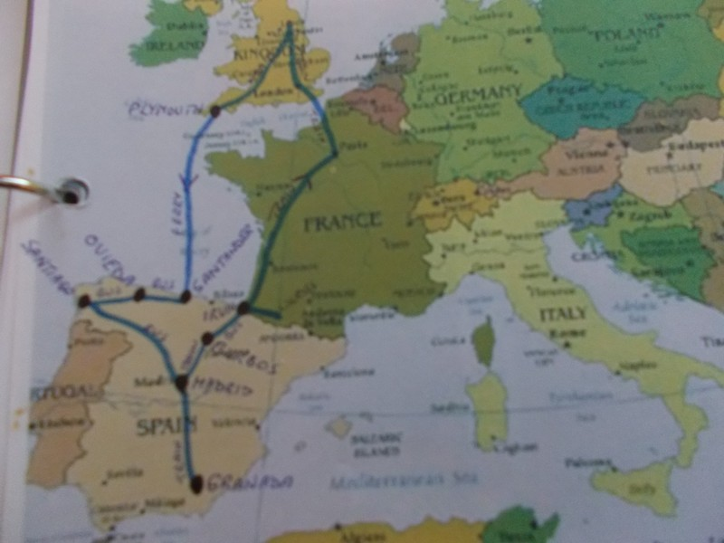 Route from England. Left going.,  right return.
