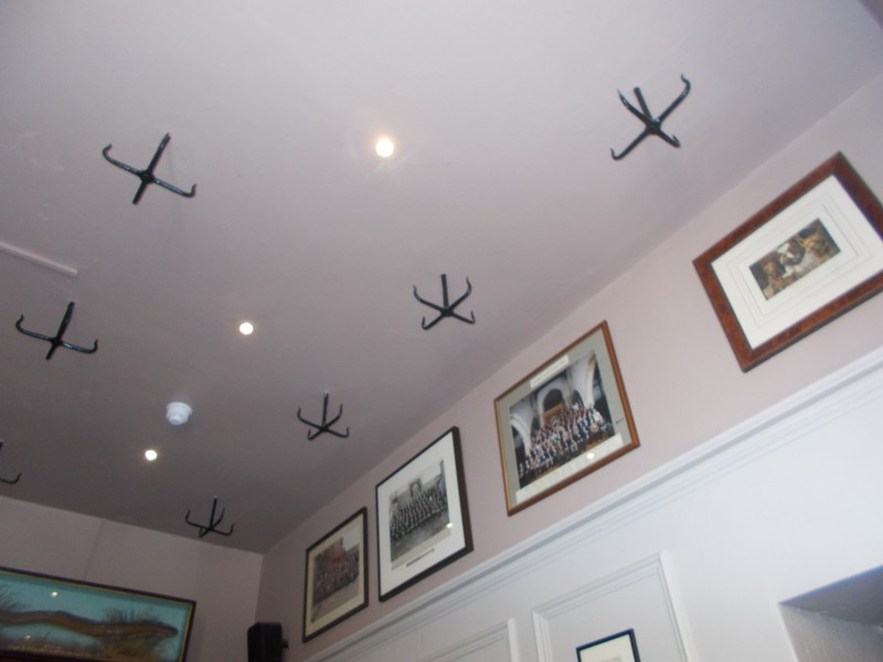 Strange hooks in ceiling of Kings Arms Pub Askrigg.