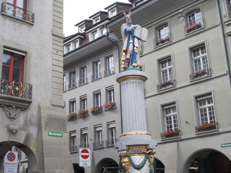 BERN, Moses Fountain,  Moses from the Bible.  16th century.  in Munster platz.