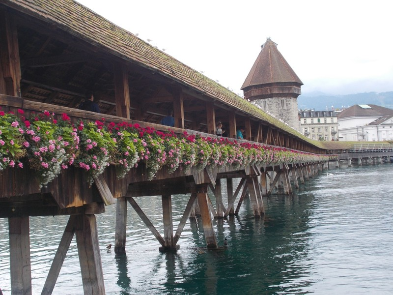 LUCERNE SWITZERLAND.  --Kapellbrucke, Chapel  Bridge.  Wooden bridge originally from 14th  century.