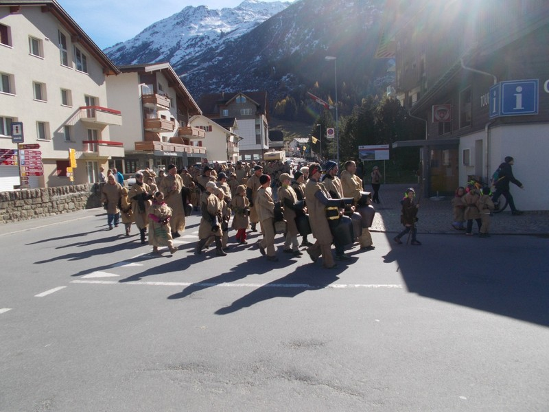 ANDERMATT  SWITZERLAND. Chilbis  parade, ringing different sizes of cowbells.