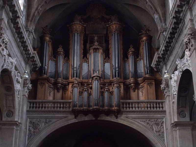 NANCY  FRANCE.-- Cathedral  Notre-Dame. Organ built 1756.on a gallery above main  doorway.