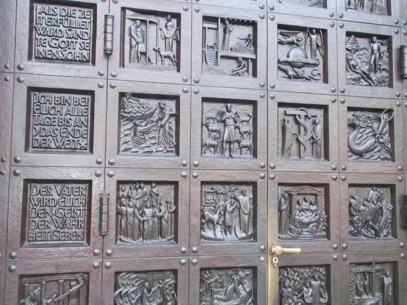 ZURICH  SWITZERLAND..  Bronze  door of Grossmunster, by Otto Munch.