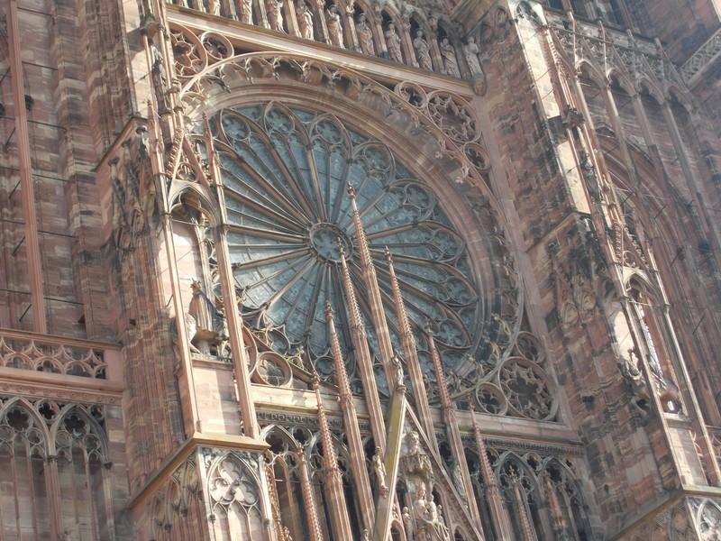 STRASBOURG,  FRANCE.  Cathedral West front.  Rose window.