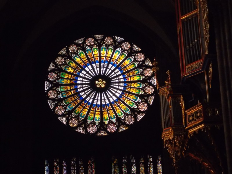 STRASBOURG, FRANCE.  Cathedral.  Rose window from inside.