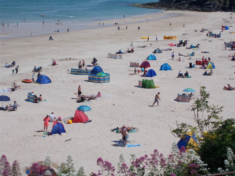 ST.IVES CORNWALL.  Porthmeor Beach in June.