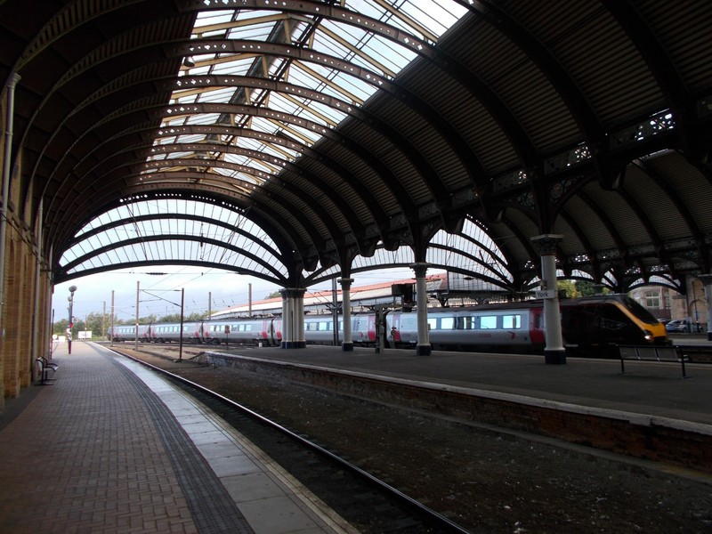 YORK  STATION.  Train arriving from  Scotland.