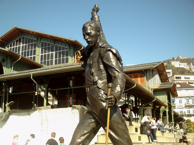 MONTREUX SWITZERLAND--  Statue  of  Freddy  Mercury,  late  of  Queen.   Queen  recorded 6  albums  in  Montreux.