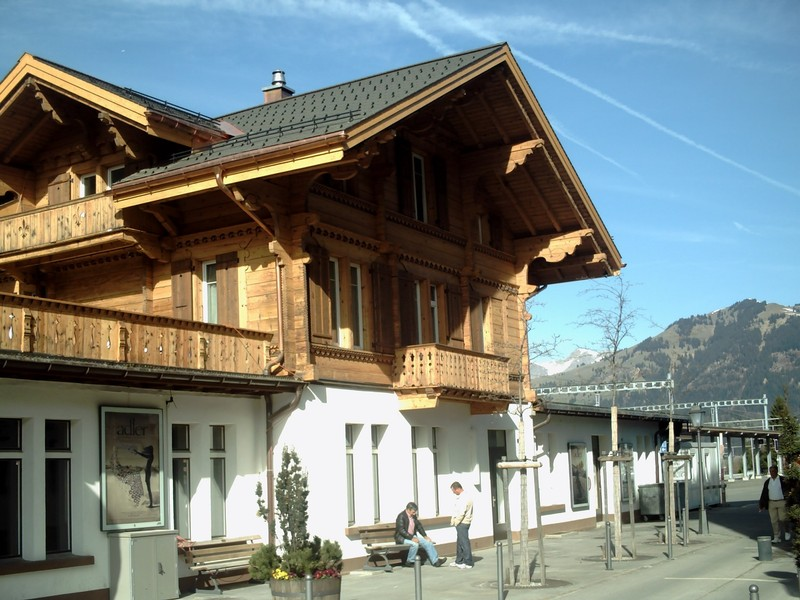 GSTAAD  SWITZERLAND..  Gstaad  rail  station, on the route  Montreux to  Zweismmen.