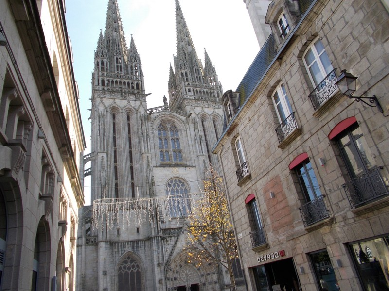 QUIMPER,  FRANCE. Cathedral of St.Corentin.--- Cathedral built to the contours of the ground, so slight  bend.