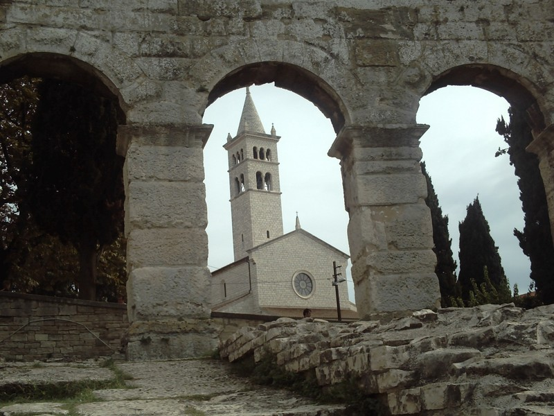 PULA  CROATIA.  Inside  Arena. --With church  of St  Stephen.