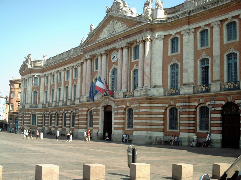 TOULOUSE  FRANCE. -- Ville  Rose on  Place  Capitole.   Town  Hall  and  Theatre.  1750--1760.