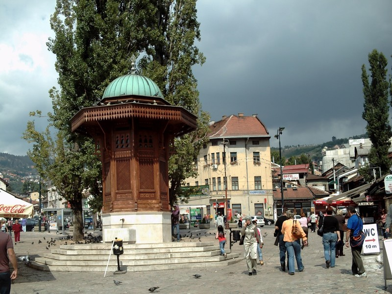 SARAJEVO.  Sebilj  fountain in  old  town  .    From 16th  century.