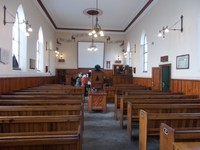 BEAMISH MUSEUM. Chapel, ready for a magic lantern show.