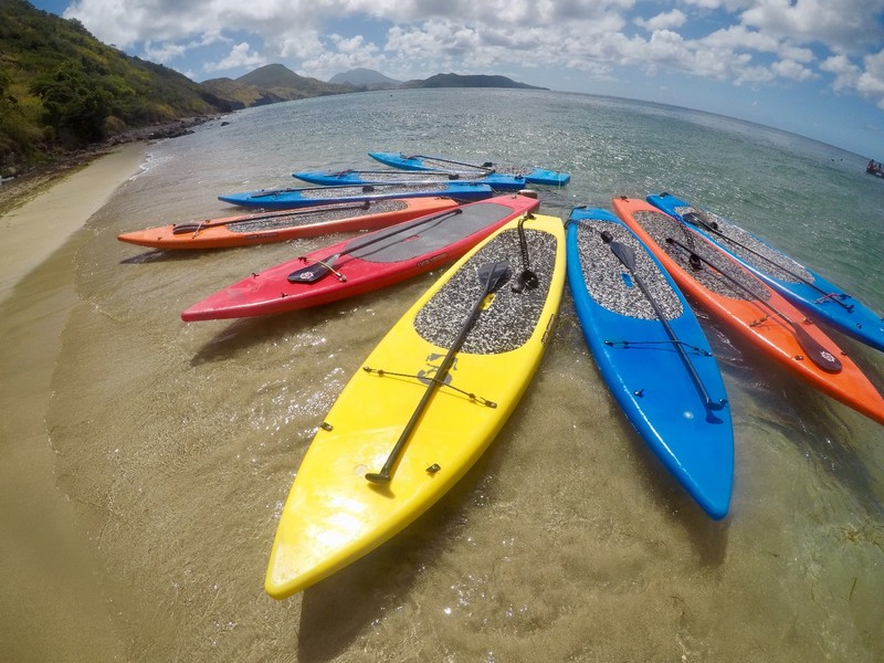 Colorful paddle boards