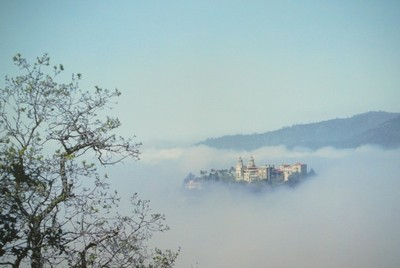 Hearst Castle near San Simeon in the fog.