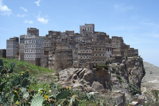 Fortified town of Al Hajjarah, built on rock.