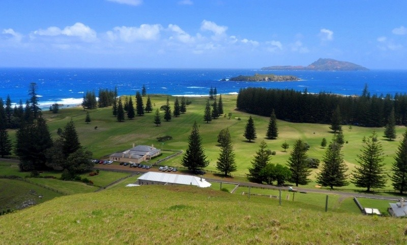 Norfolk Island is very tranquil and scenic. Lots of Norfolk Pines.