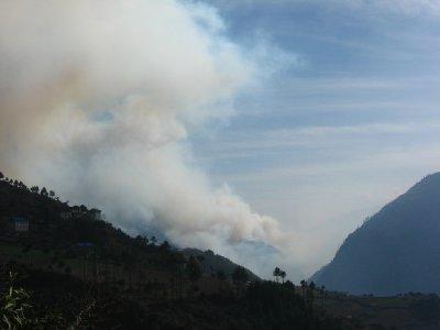 Fire near Lukla
