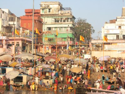 Busy Market and Ghat