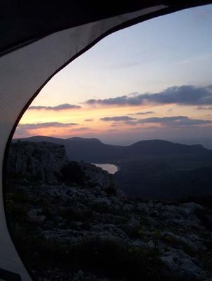 Tent View at Sunset