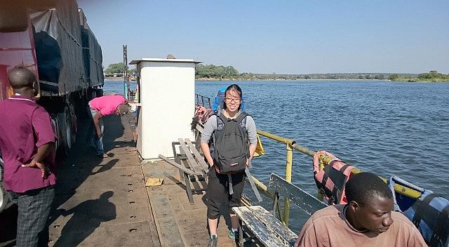 Crossing the Botwana - Zambia border on a ferry