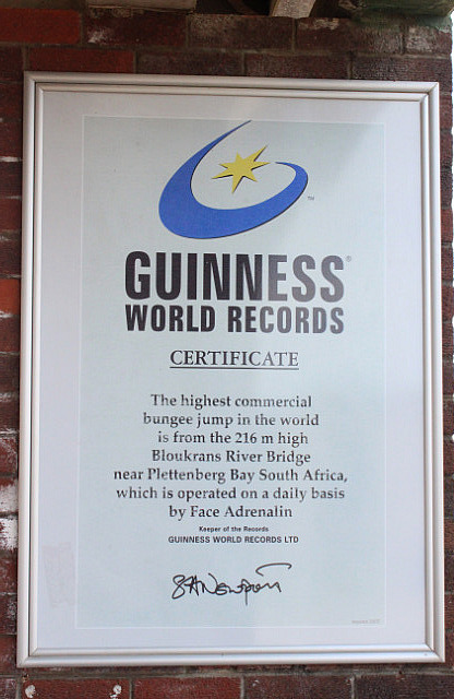 Certification from the Guiness World Records