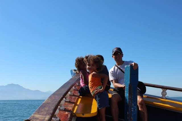 Local kids on ferry back to Rio