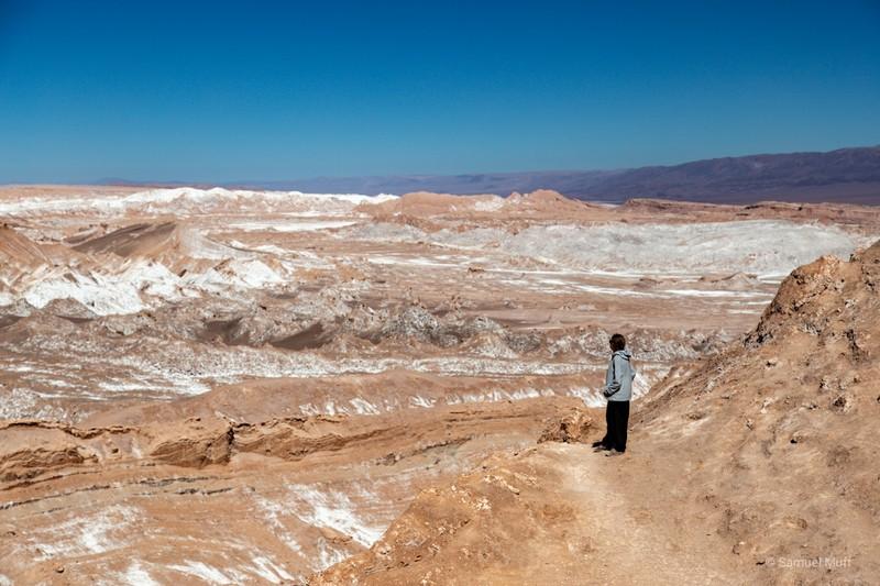 Marta looking out over the rocky landscape of the Valle de la Luna