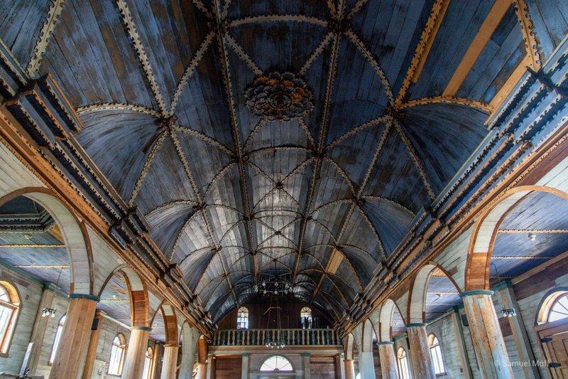 Inside of Iglesia Santa Maria de Loreto in Achao