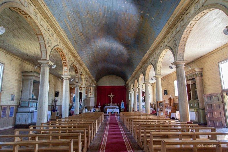 Inside of Iglesia Nuestra Señora del Rosario in Chonchi