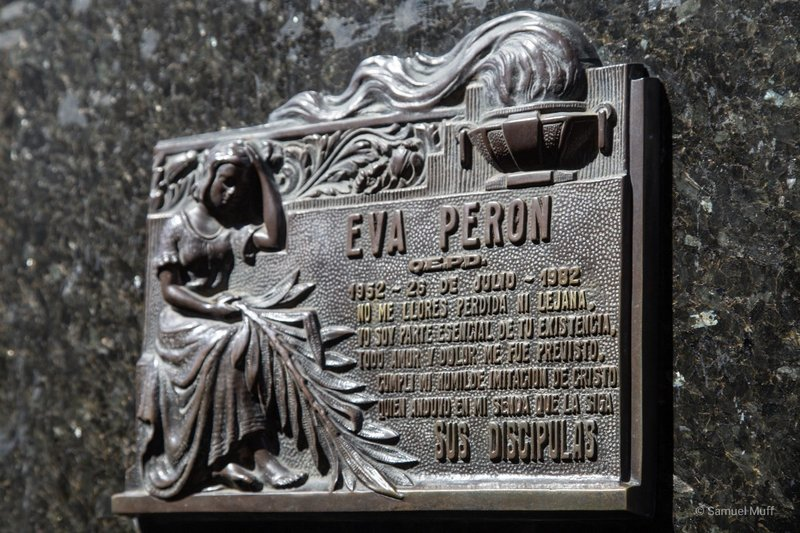 Plaque for Evita Perón on her family's mausoleum