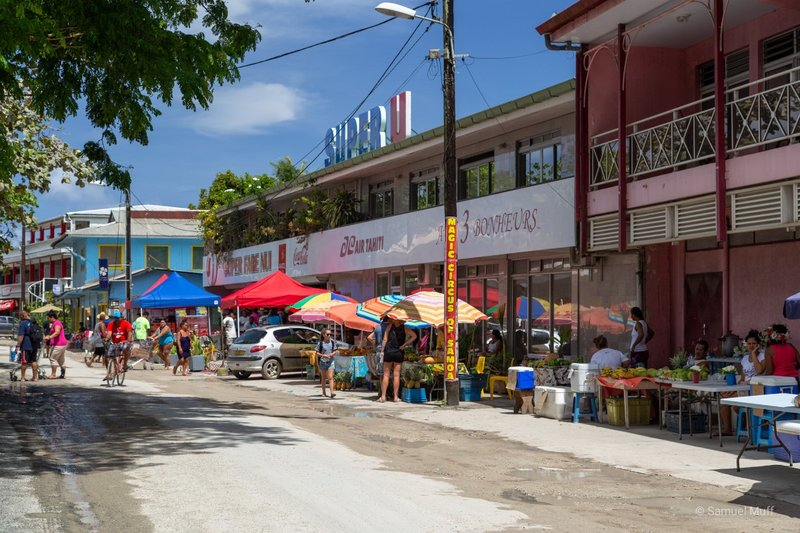 Main street of Fare, Huahine