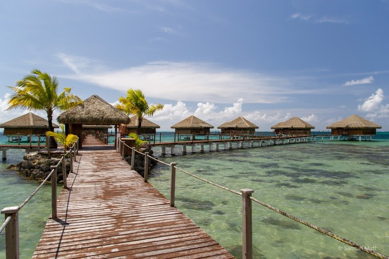 Overwater villas in Huahine (ours is the rightmost one)