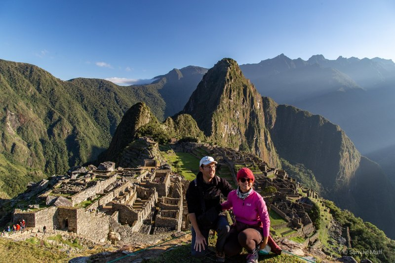 Sam and Marta in front of Machu Picchu