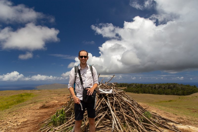 Sam on Easter Island's highest point, Maunga Terevaka