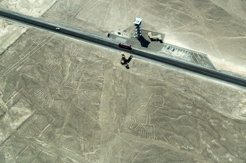 'Tree' and 'Hands' figures of the Nazca lines, see cars for scale